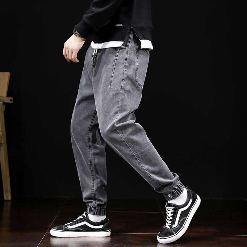 Fashion Streetwear Mannen Jeans Loose Fit Vintage Harembroek Multi Pockets Denim Cargo Broek Slack Bottom Hip Hop Jogger Jeans mannen