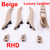 Luxury Leather Right Hand Drive RHD For BMW 5 series F10 F11 520 525 Beige Car Interior Door Handle Inner Panel Pull Trim Cover