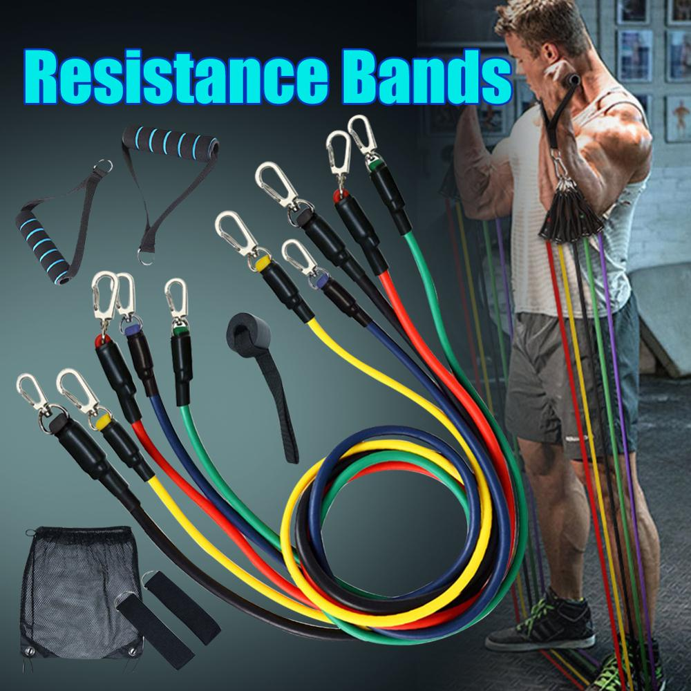11Pcs/Set Resistance Band Pull Rope Fitness Training Exercise  Rubber Yoga Workout  Latex Pedal Body