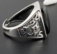 Real 100% S925 solid sterling silver natural black agate men's ring vintage adjustable ring