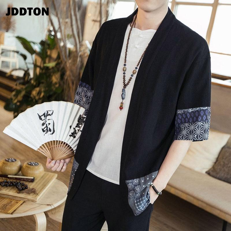 JDDTON Men's Cotton Linen Kimono Jackets Leisure Cardigan Streetwear Shirts Japanese Samurai Traditional Casual Coats 5XL JE011