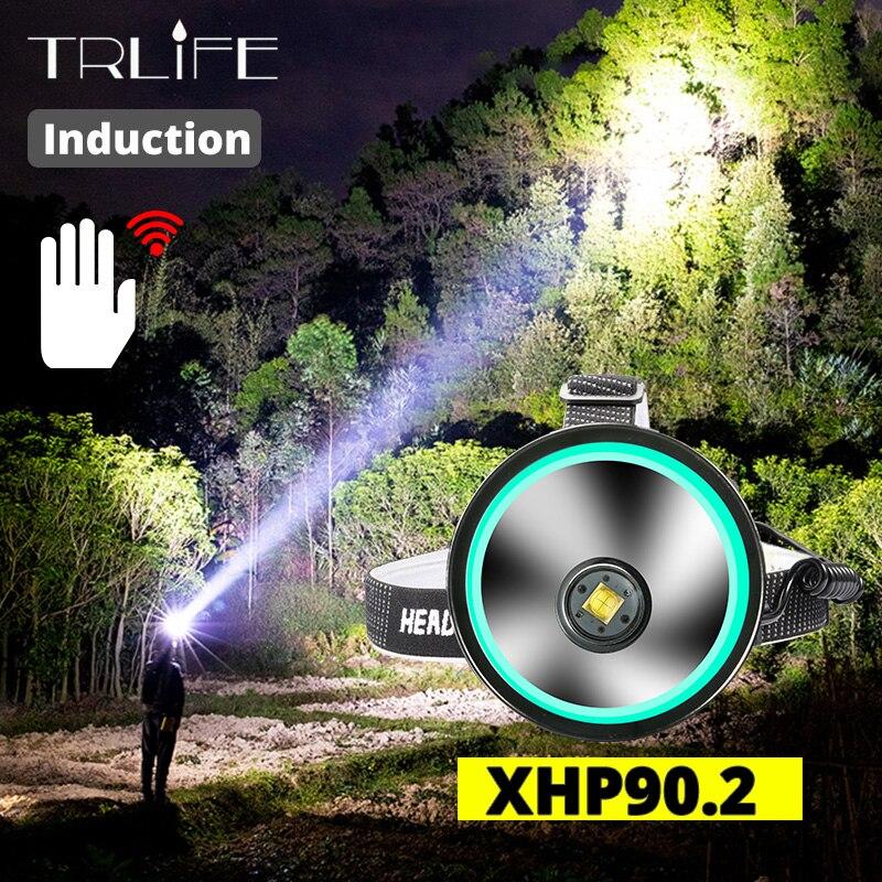 IR Sensor 8000 Lumen Powerful XHP-90.2 Led Headlamp Fishing Camping Headlight  Lantern Head Lamp USB Torches Flashlight 3*18650