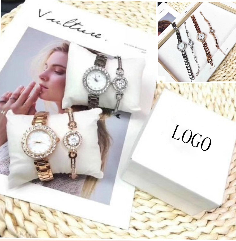 Luxury Fashion Bracelet Brand Rhinestone Watch Exquisite Gift Box Lady Silver Gold Steel Quartz Watches Montre Femme Clock Reloj