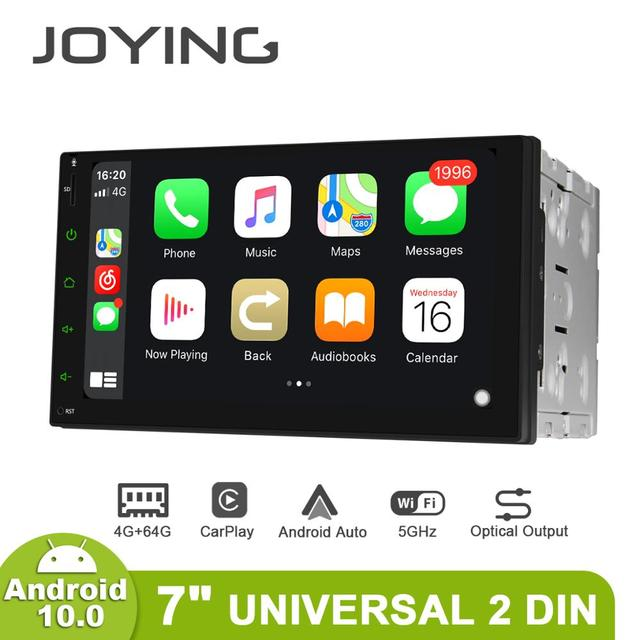 JOYING 2 din head unit car radio player GPS Navigation universal stereo multimedia 4GB+64GB support 4G/Carplay/Reverse camera BT