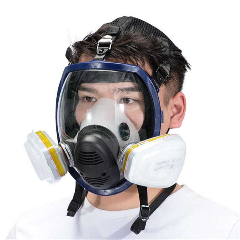 7 Suits Gas Mask Full Face Chemical Respirator Laboratory Medical Masks Spraying Safety Protection Anti Virus Filter Mask