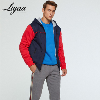 Liyaa New Men Hoodies Sweatshirts Winter Brand Mens Warm Jacket Male Casual Solid Color Splice