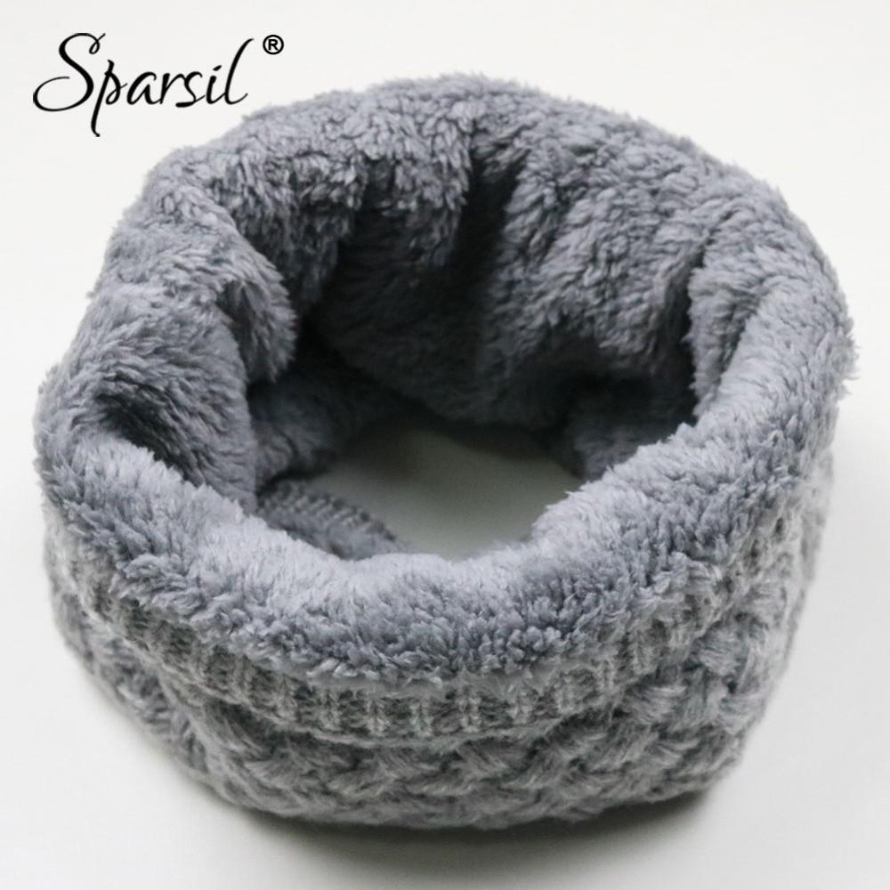 Sparsil Unisex Winter Warm Knitted Ring Scarves Thick Fleece Inside Super Elastic Knit Mufflers Men Women Children Neck Warmers