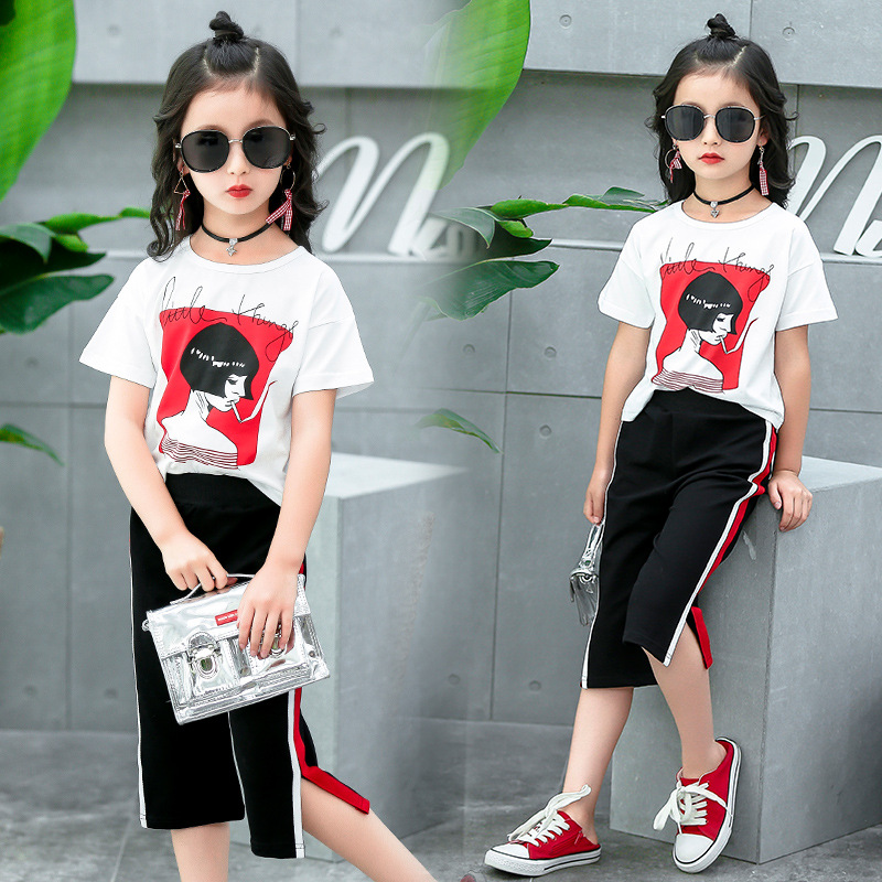 Outfits For Teenage Girls Clothing Modern T-shirt and Cropped Trousers 2 Piece Set Children Young Girl Clothes 4 to 12 Years