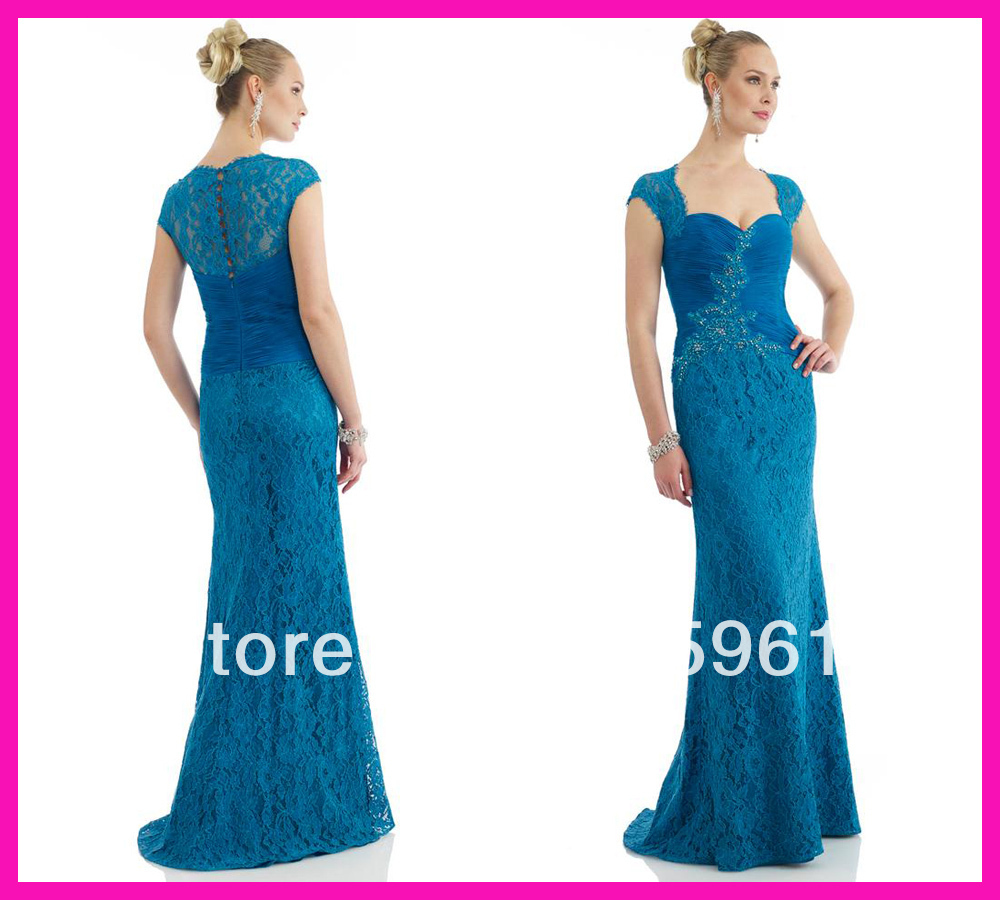 Vestido De Madrinha Vintage Blue Cap Sleeve Lace Column Full Length Mother Of The Bride Dresses For Weddings Evening Gowns 2019