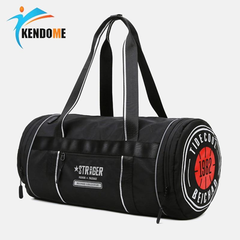 Men Sport Fitness Bag Waterproof Gym Handbag Women Yoga Training Bag Outdoor Cylinder Shoulder Bag Swim Bag Oxford Travel Bag