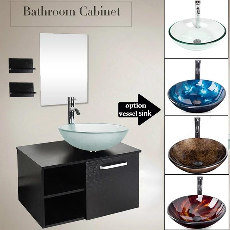 28 bathroom vanity wall mount cabinet floating vessel sink faucet mirror combo us