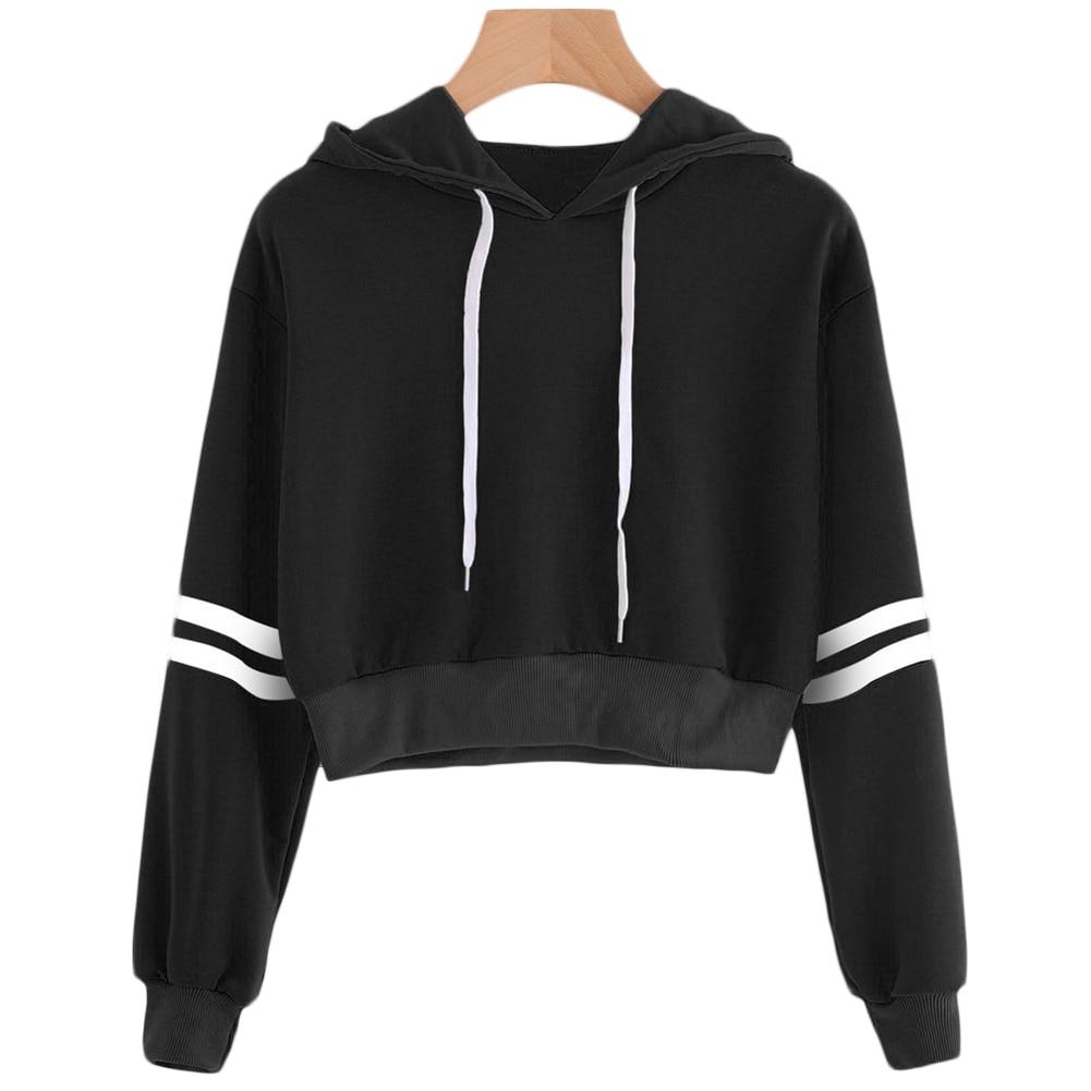 Women Striped Long Sleeve Drawstring Sweatshirt Short Pullover Crop Top Hoodies