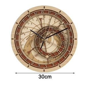 Image 4 - קיר יצירתי שעון פראג האסטרונומי עץ שעון קיר סלון שעון קוורץ שעון בית Decoratio עץ שעון קיר