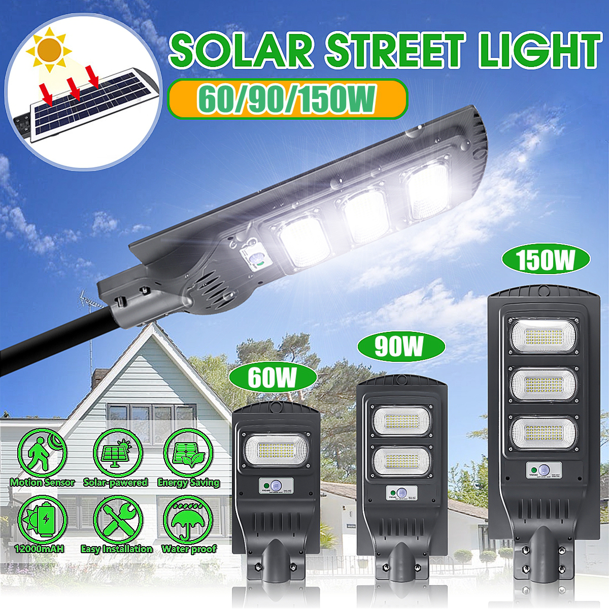 LED Solar Lamp Street Light 60W/90W/150W LED Solar Light Radar PIR Motion Sensor Timing Lamp+Remote Waterproof for Plaza Garden 1