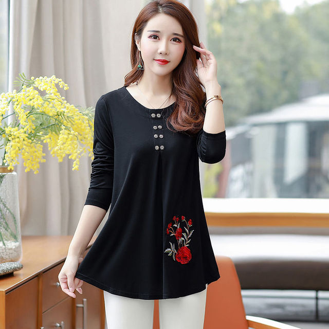 New Women's Spring Autumn Style Blouse Shirts Women's O-Neck Loose Button Embroidery Long Sleeve Temperament Casual Tops DD8332 3
