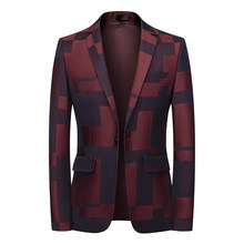 2021 new men's suit jacket fashion printing men's casual wedding jacket stage party business casual single blazer M-6XL