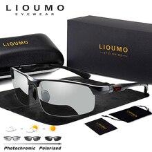 LIOUMO Photochromic Sunglasses 남성 편광 된 카멜레온 안경 남성 변경 색상 Sun Glasses Day Night Vision 운전 안경