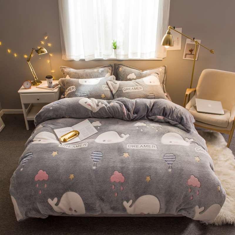 New Style Autumn And Winter Thick Snow Rong Flannel Double-sided Plush Four-piece Set Online Celebrity 1.5M Quilt Cover Coral Ve