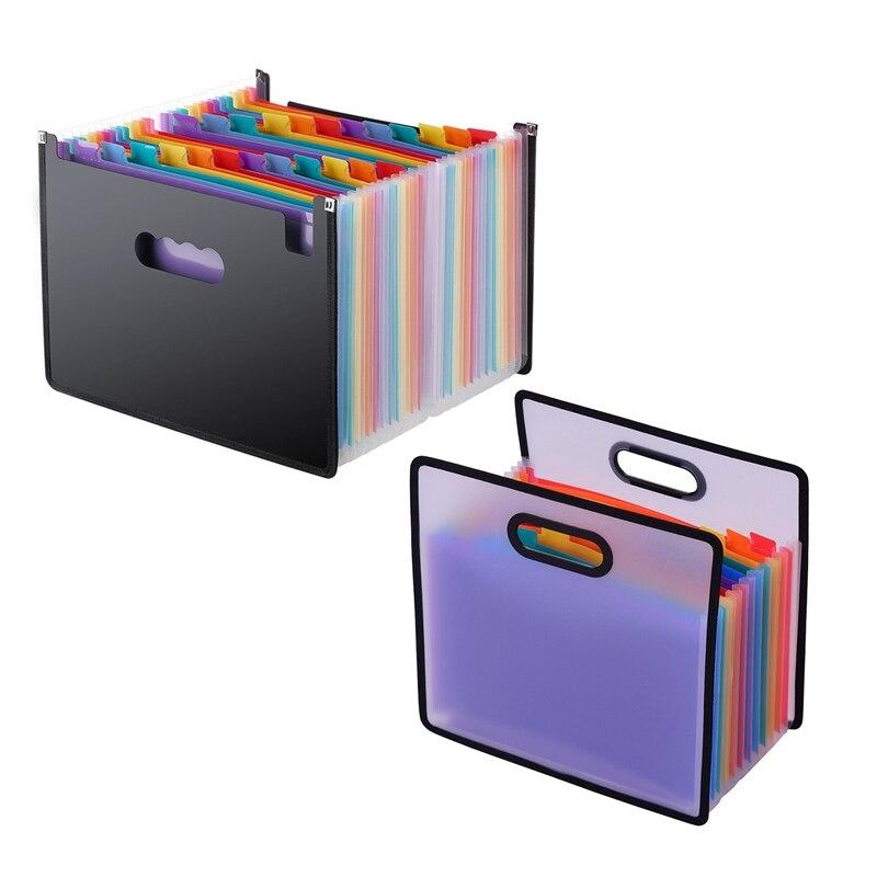 Portable 12 Pocket Expanding File Document Accordion Folder Paper Bag Black