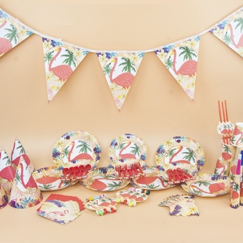 birthday party decorations  disposable tableware Flamingo theme set with creative baby birthday  party dress up layout