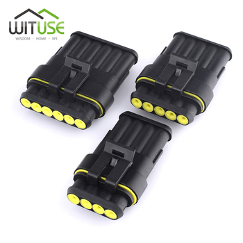 TSLEEN 5/10 Sets Female Male Way Super Seal IP68 Waterproof Cable Automotive Electrical Wire Connector Auto Plug 1/2/3/4/5/6 Pin image