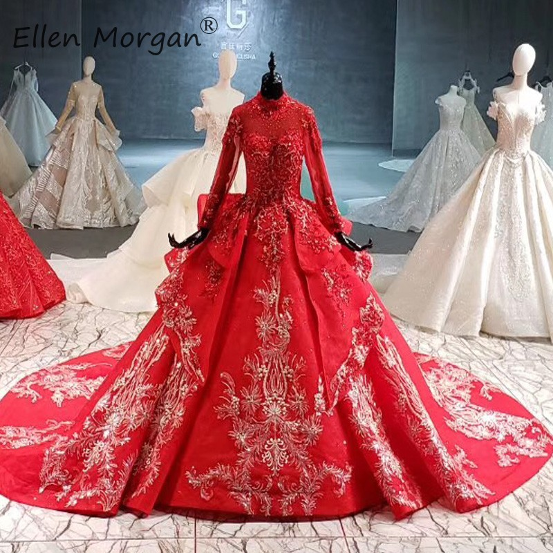 Arabic Luxury Muslim Long Sleeves Red Wedding Dresses Vestido De Novia High Neck Lace Elegant Vintage Ball Gowns For Bridal