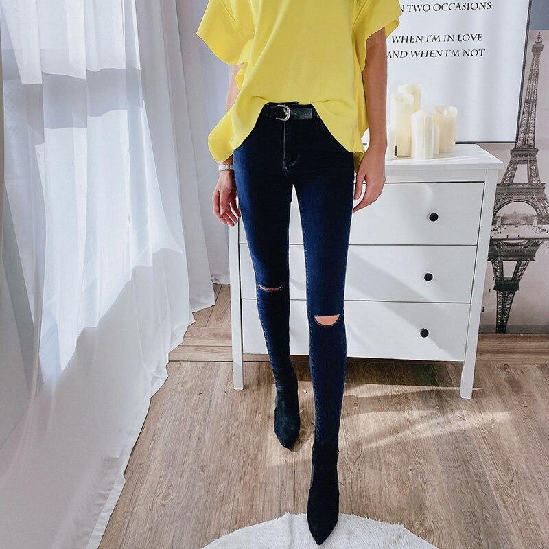 Dabuwawa Zipper Fly Skinny Casual Hole Pencil Jeans Women Bottoms Streetwear Mid Waist Buttoned Denim Trousers Female DT1ALJ002