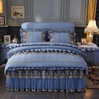 20 4Pcs Washed cotton quilted lace luxury bedding sets queen king size duvet cover set bed skirt set pillowcase bedclothes