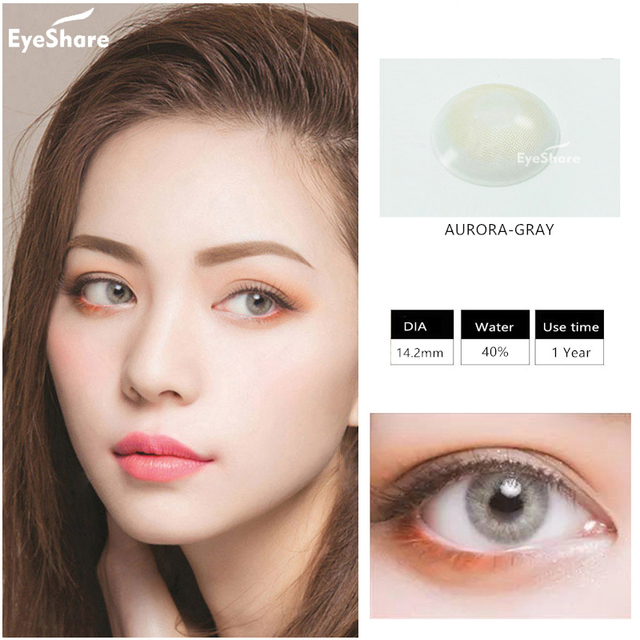 EYESHARE 1 Pair (2pcs)  Natural Crystal  Color Contact Lens for Eyes Cosmetic  Contact Lenses  Eye Color 2