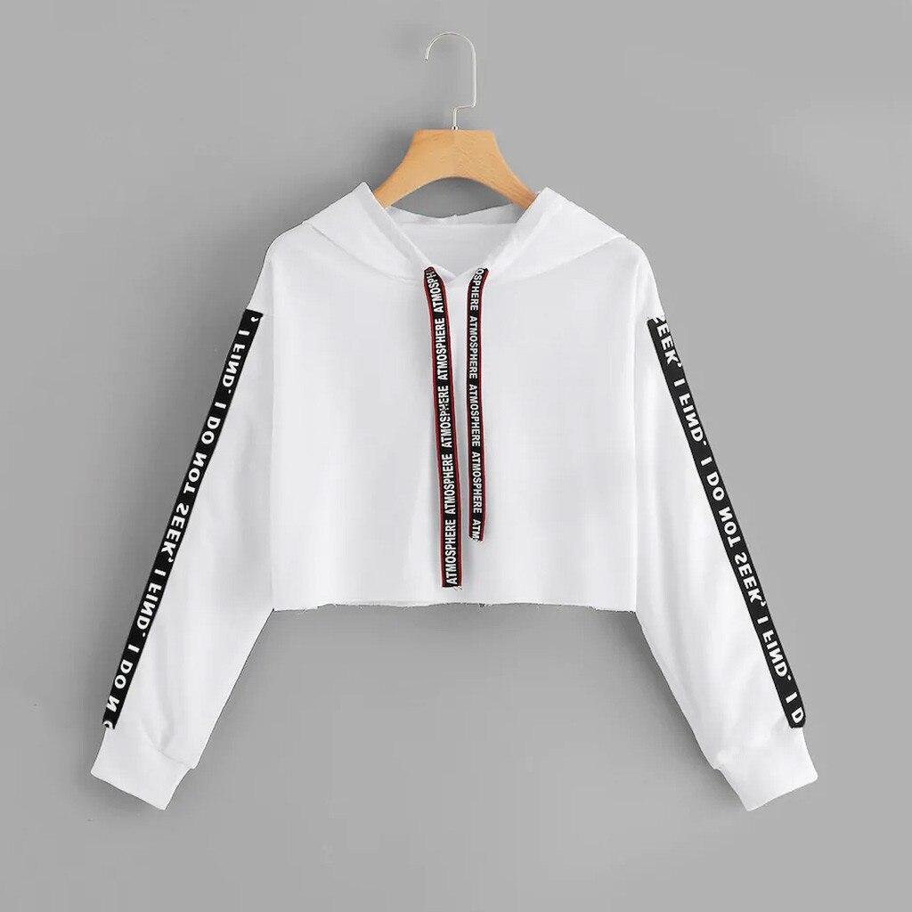 Women Letter Print Pullover Top Sweatshirts Coat Women Hoodies Hoodies Sweatshirt Autumn Crop Top Long Sleeve Sweatshirt Hoodie