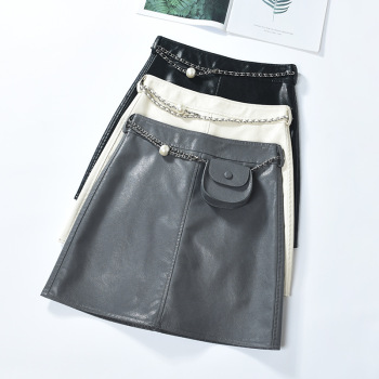 leather skirt womens autumn and winter 2020 new black hip A-line Sweet High Waist Mini Skirt