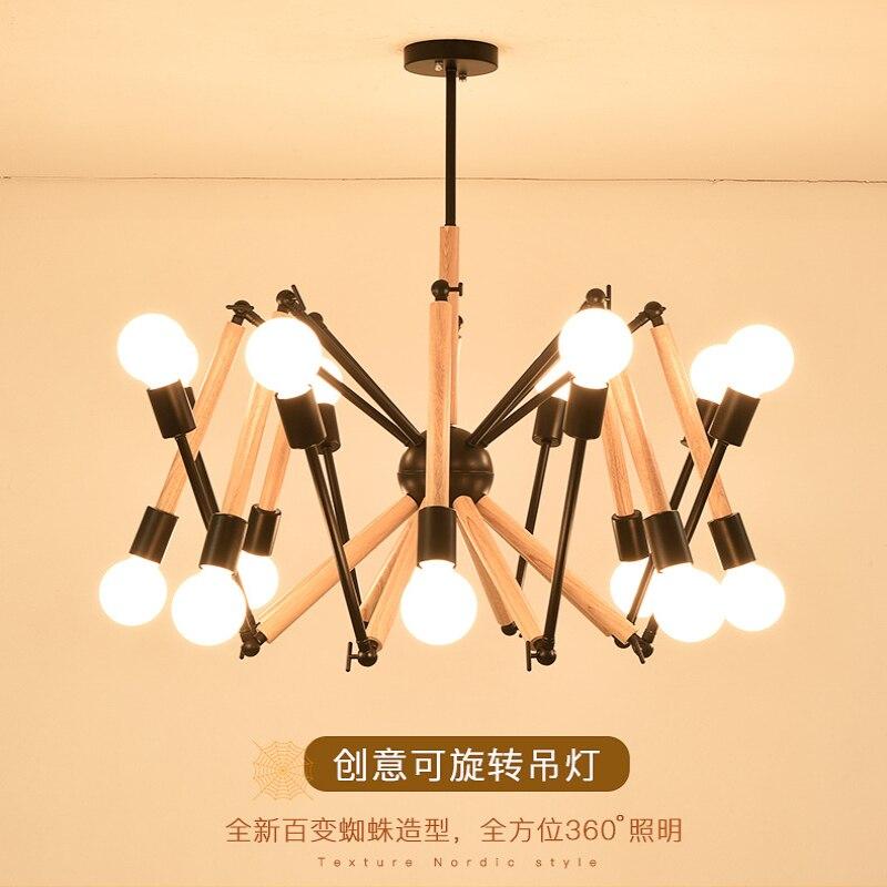 Lustre moderne fer bois LED E27 180 ° rotation unique modélisation noir lampe corps blanc lampe corps utilisation pour chambre salon