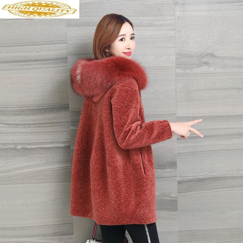 Real Fur Coat Women Winter Jacket Hooded Fox Fur Collar Sheep Shearing Wool Fur Coats Korean Chaquetas Mujer 2020 923