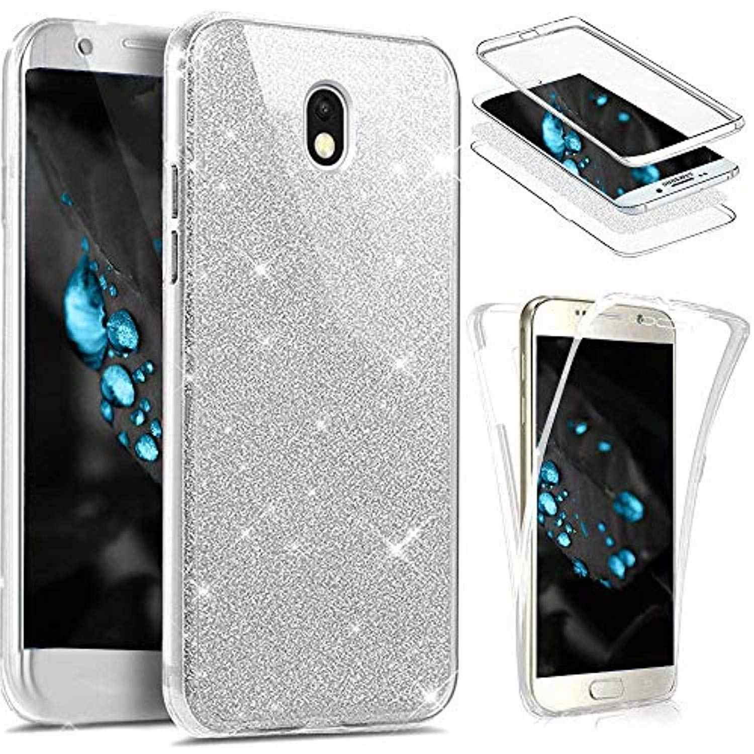 Glitter Bling 360 3 in 1 Front + Back Case for Samsung Galaxy J3 J5 J7 2017 A3 A5 A7 2016 Cover Transparent TPU Phone Cases