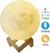 Christmas Gift 3D Print Rechargeable Moon Lamp LED Night Light Creative Touch Switch Moon Light For Bedroom Decoration Light Toy аксессуары для колясок moon фонарик led light