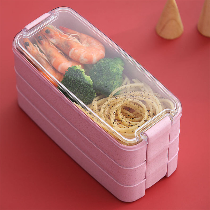 900ml Healthy Material Lunch Box 3 Layer Wheat Straw Bento Boxes Microwave Dinnerware Food Storage Container Lunchbox|Lunch Boxes| |  - title=