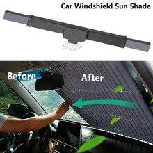 Janela dianteira do carro sol viseiras automóveis cortina pára-sol capa uv proteger retrátil cortinas windshield sun block protector