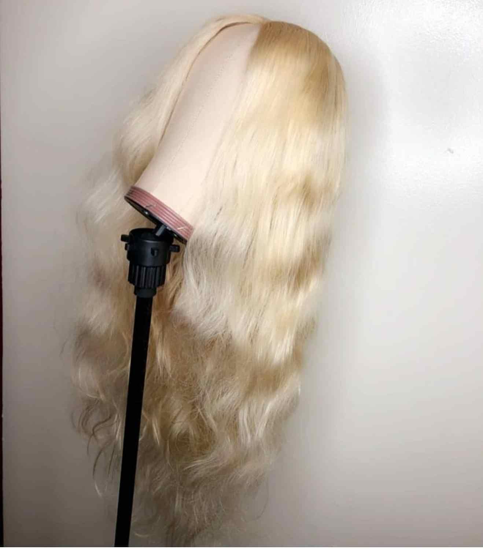8 para 30 Polegada Loira 613 Pré Arrancou Com o Cabelo Do Bebê Cheia Do Laço Peruca de Cabelo Humano Onda Do Corpo de Remy do Brasileiro cabelo Para As Mulheres Negras