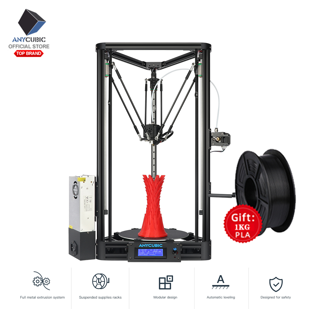 USA shipping ANYCUBIC 3D Printer KOSSEL Plus Linear Auto Leveling Delta+2KG PLA