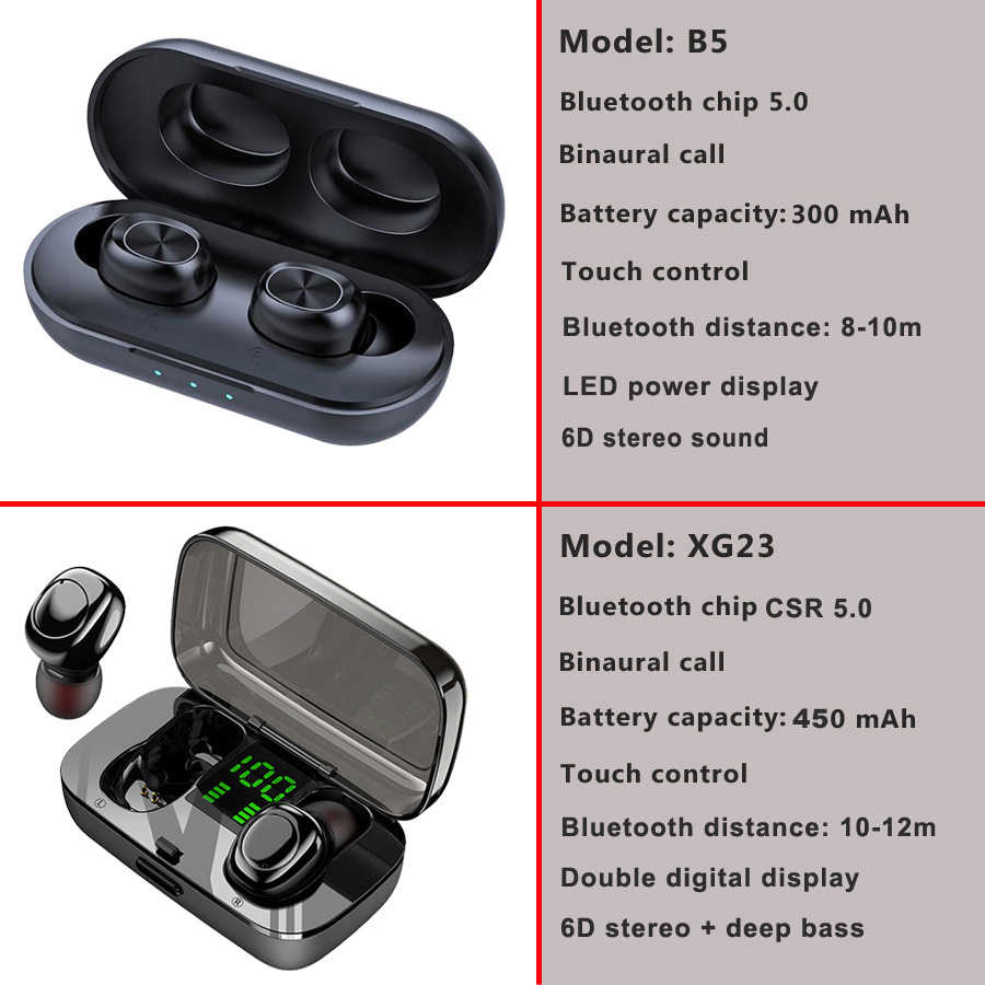 Dokunmatik kontrol TWS 5.0 Bluetooth kulaklık kablosuz kulaklıklar Handsfree HIFI Stereo kablosuz kulaklık kulaklık mikrofon ile