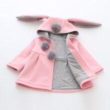 Girls Cute Coats Cartoon Rabbit Ear Hooded Autumn Winter Lon