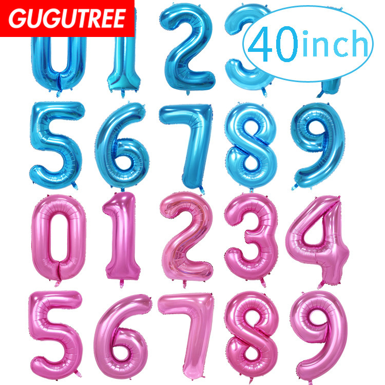 40inch Rose Gold Silver Big Size Number Balloon Foil Helium Balloons Birthday Party Celebration Decoration Large Globos HY-191