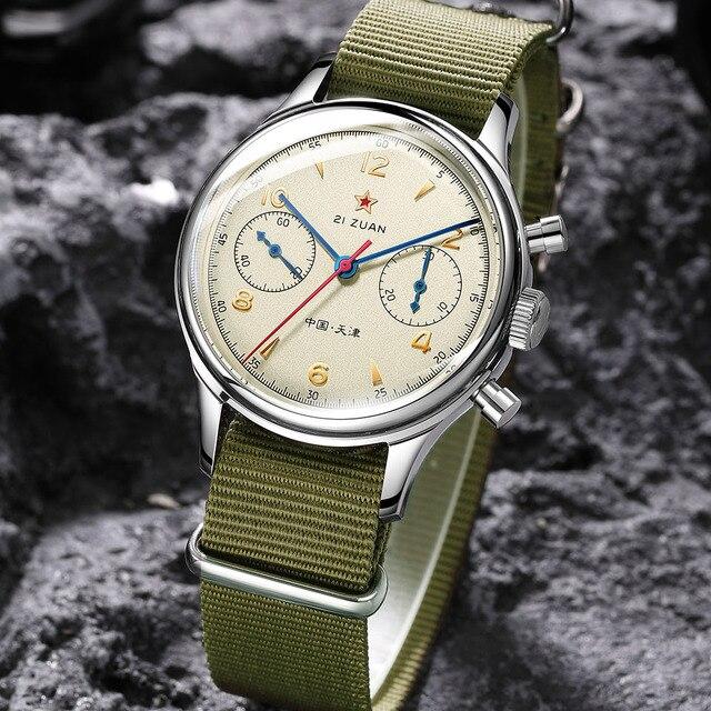 Fashion 38mm Men Chronograph Watches Sapphire Mechanical 1901 Seagull Movement Military Pilot Mens Chronograph Watch 1963 40mm 3