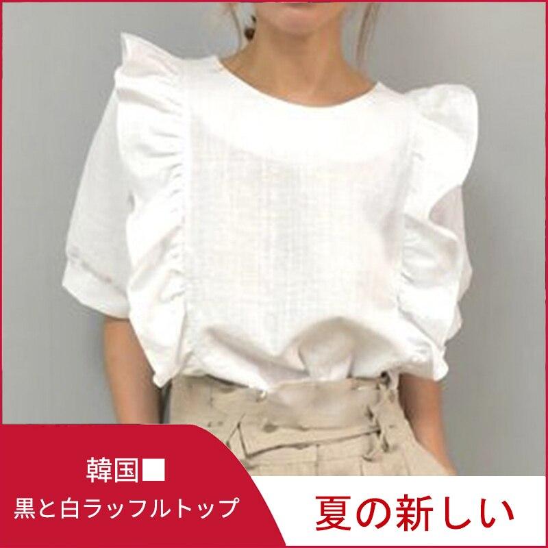 Woman Short Sleeve Ruffle Blouse Korean Japan Retro Round-Collar  Solid Slim T-Shirt Elegant Chic Vintage Casual Top Clothing