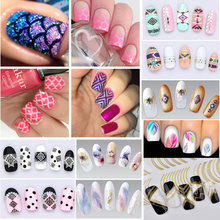 2/3Pcs 3D Nail Art Stickers Decals Water Transfer Tips Metallic Watermark Manicure Decorations