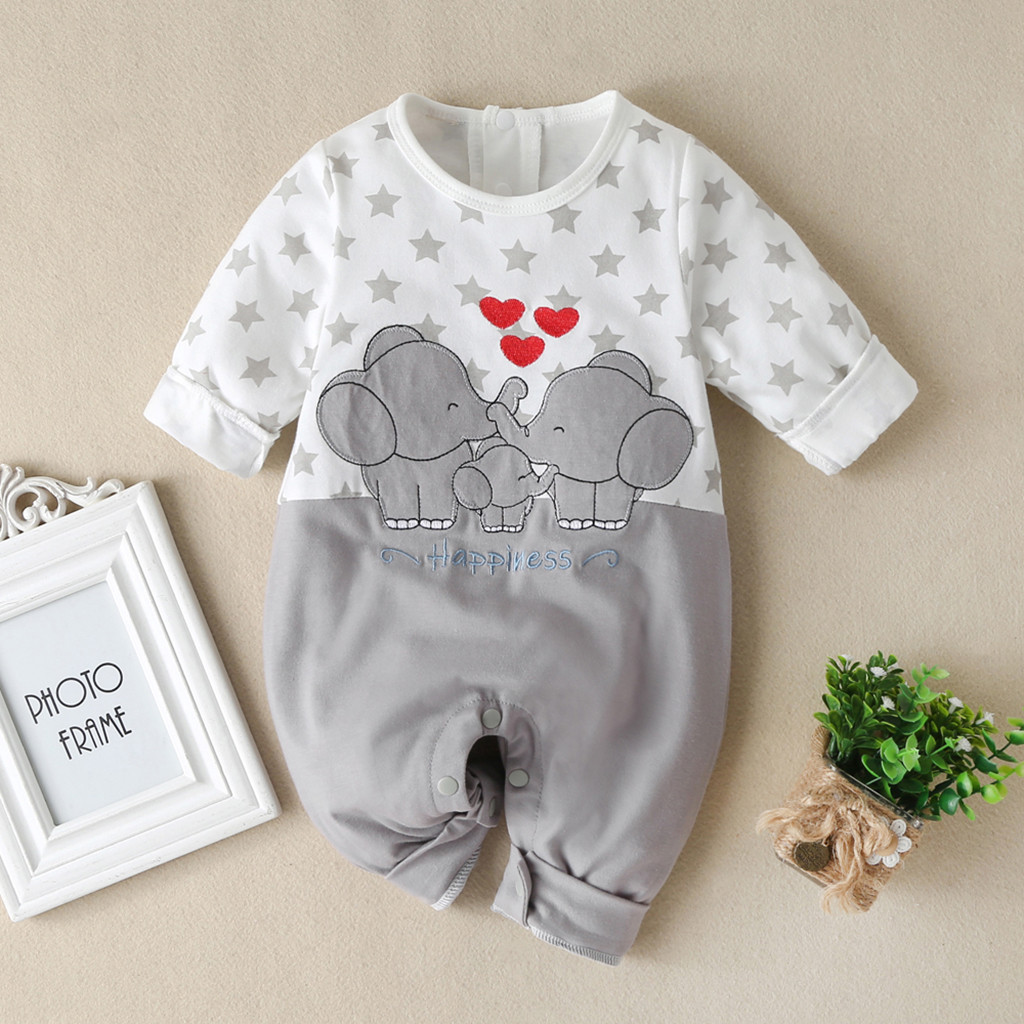 Infant Baby Jumpsuit Clothes Boys Girls Cartoon Elephant Heart Print Romper For Toddler Kids Long Sleeve Cute Jumpsuits #LR2