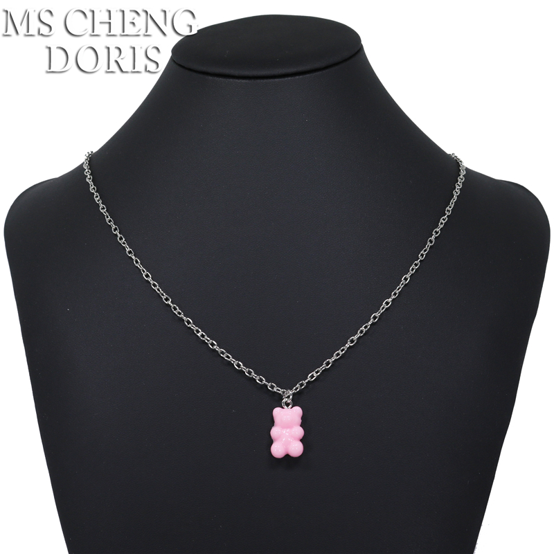 Handmade 33 Styles Colors Cute Resin Gummy Bear Chain Necklaces, Candy Color Pendant For Women&Girl Daily Jewelry Party Gifts
