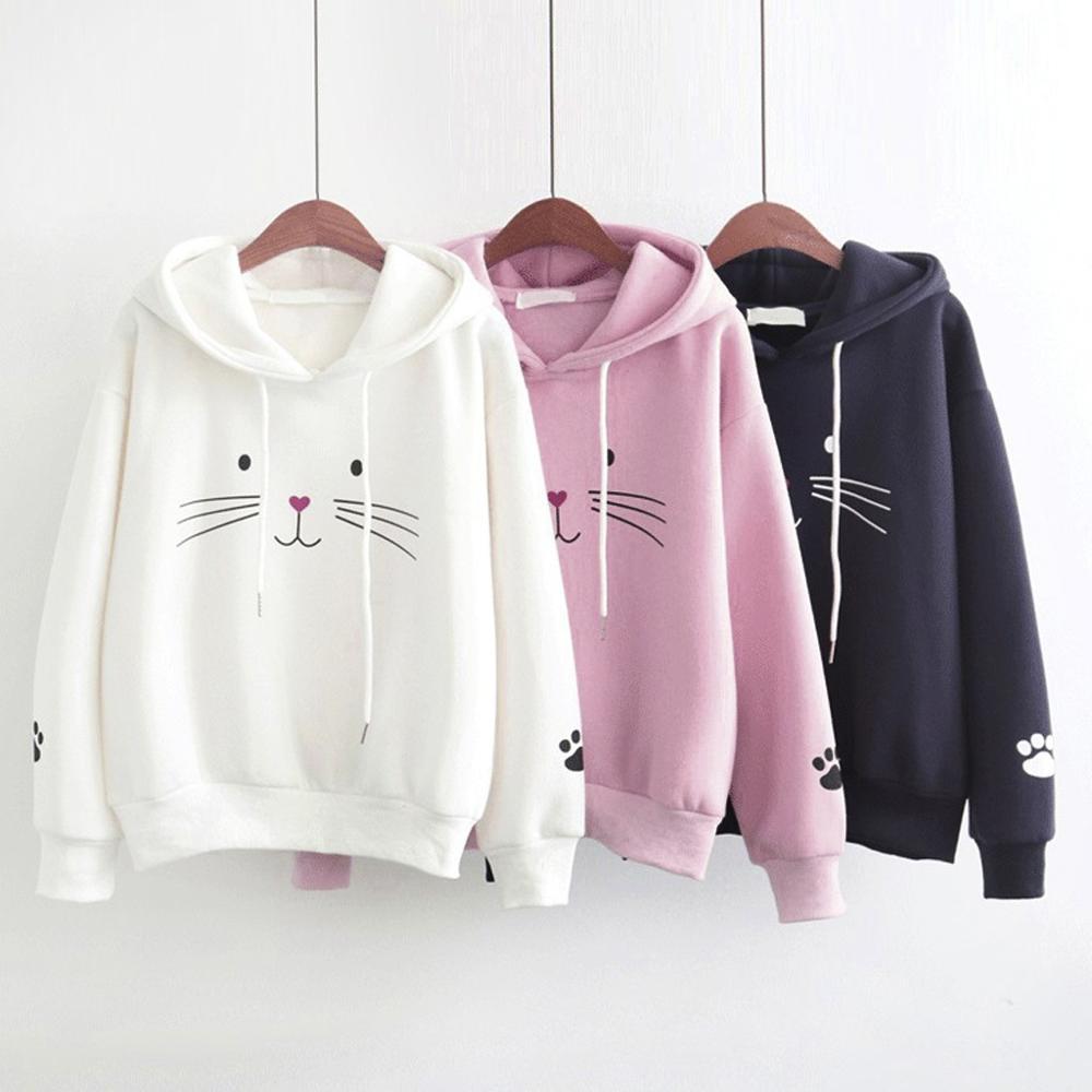 2020 Autumn Women's Hoodies Cute Cartoon Print Long Sleeve Hooded Sweatshirt with Pocket Loose Casual Female Hoodies Tops Blouse