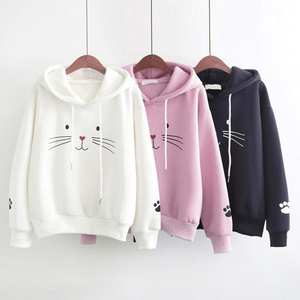 Hooded Sweatshirt Blouse Loose Cute Pocket Long-Sleeve Print Cartoon Casual with Female
