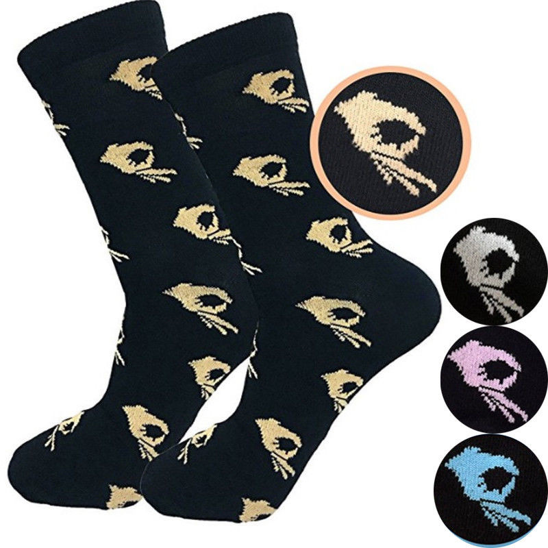 Hirigin 1 Pair Unisex Fashion High Hosiery Sock For Men Women OK Print Cool Sock Crew Sock Funny Cartoon Art Cotton Soft Socks